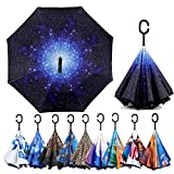 Inverted Reverse Umbrella Windproof - Protection Double - Layer, Straight Umbrella Upside Down Self Stand Waterproof Umbrella, Inside Out C Shaped Umbrella (Starry Sky)