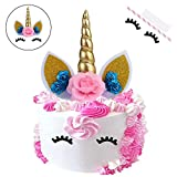Zoint Unicorn Cake Topper with Eyelashes Party Cake Decoration Supplies for Birthday Party, Wedding, Baby Shower (Blue Flower)