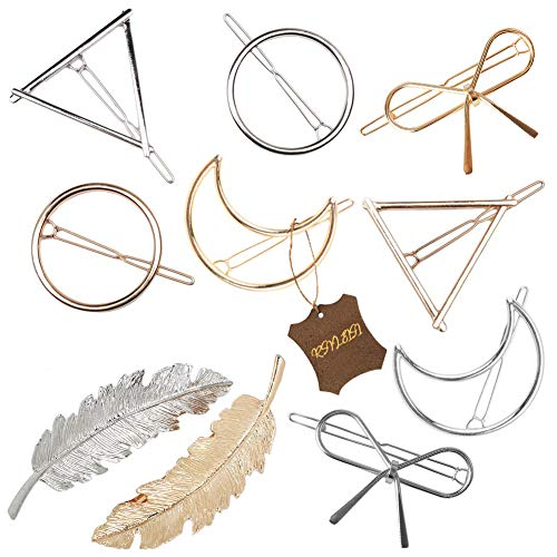 Gold Silver Minimalist Hair Clips Dainty Feather Hollow Hair Clips Set Feather Hair Pins Geometric Barrette Hair… 4