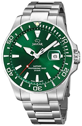 JAGUAR Uhrenmodell J860 / B aus der Executive-Kollektion, 43,5 mm grünes Gehäuse mit Stahlband für Herren J860/B