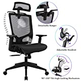 Statesville Ergonomic Mesh Office Chair - High Back Adjustable Backrest Armrest Headrest Computer Desk Chair with Coat Hanger, Black