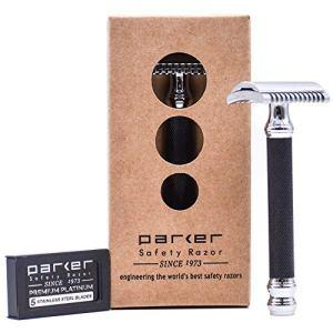 Parker 26C –Black Handle Three Piece Open Comb Double Edge Safety Razor & 5 Premium Platinum...