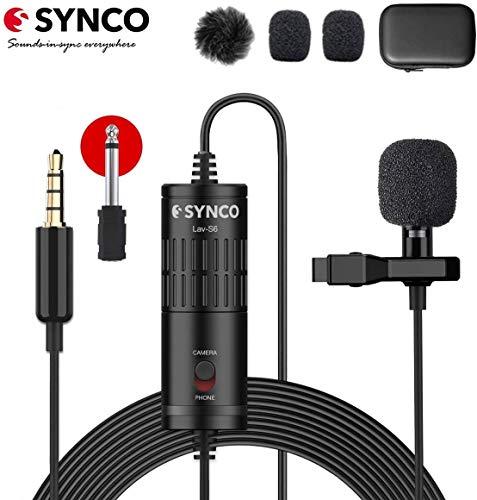 SYNCO Lavalier Mikrofon, Omnidirectional Kondensator Mic mit Windschutz, USB Ansteckmikrofon 3.5mm TRS/TRRS 6.3mm für Smartphone iPhone Android Huawei Samsung, PC Laptop, Kamera DSLR Camcorder Lav-S6