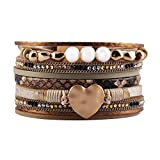 GelConnie Women Leather Wrap Bracelet Rope Cuff Bracelets Charm Heart Bangle Wedding Bohemian Gift for Mother, Wife, Ladies, Lover LPB292-beige