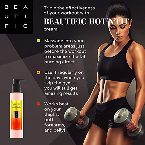 BEAUTIFIC Anti Cellulite Cream | Hot Cream | Workout and Sweat Enhancer | Excess Fluid Drainage Slimming Body Lotion and Cellulite Remover Lotion for Belly, Waist, Arms, Thighs & Butt with Caffeine 6.8 fl oz 5