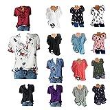 BESDAY Tee Shirt Femme Robe ete Femme Vetement Femme Manche Courte Top Femme Manches Courtes ImpriméEs avec Poches