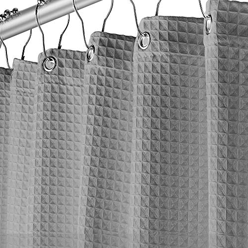 Creative Scents Grey Fabric Shower Curtain for Bathroom - Spa, Hotel Luxury, Waffle Weave Square Design, Water Repellent, 72' x 72' for Decorative Bathroom Curtains