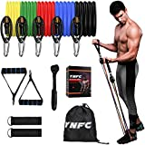 YNFC Resistance Bands Set Exercise Bands, Indoor Fitness Bands with Door Anchor & Handles, Home Gym Equipment Legs Ankle for Resistance Training, Home Workouts, Fitness (Black)