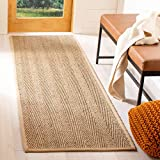 Safavieh Natural Fiber Collection NF115A Herringbone Natural and Beige Seagrass Runner (2'6' x 10')