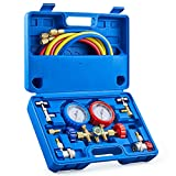 Orion Motor Tech AC Gauges, AC Manifold Gauge Set for R134a R12 R502 Refrigerant, 3 Way Car AC Gauge Set with 5FT Hoses Couplers & Adapter, Puncturing & Self Sealing Can Tap Freon Charge Kit