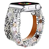 fastgo Bracelet Band Leather Compatible with Apple Watch 38mm 40mm Series 6, Snakeskin Elastic Beaded Animal Print Strap for Iwatch Series SE & 6 5 4 3 2 1 (Snakeskin, 38mm/40mm)