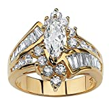 Bokeley Valentine's Day Rings Gift, 2-in-1 Womens Vintage White Diamond Silver Engagement Wedding Band Ring Set (Gold #1, 8)