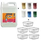 Cléopâtre CT2L-PAILL2 - Set di 2 kg di colla trasparente + 6 tubi glitter + scatole portaoggetti