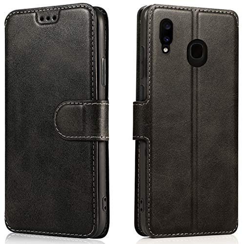 LeYi Cover Samsung Galaxy A20e,Custodia Magnetica Flip Pelle Libro Silicone TPU Bumper Portafoglio Skin Morbida Fondina Antiurto Case per Telefono A20e,Nero