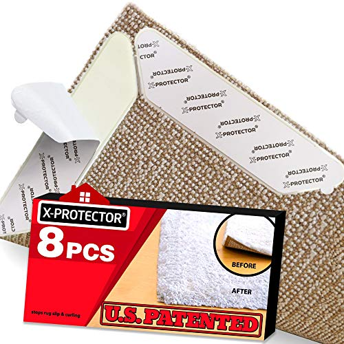 Rug Grippers X-PROTECTOR – Best 8 pcs Anti Curling Rug Gripper. Keeps Your Rug in Place & Makes Corners Flat. Premium Carpet Gripper with Renewable Gripper Tape –Ideal Anti Slip Rug Pad for Your Rugs
