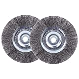EMILYPRO 6' Bench Wire Wheel Brush | Coarse Crimped Steel Wire 0.012' with 1/2' and 5/8' Arbor for Bench Grinder - 2pcs