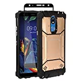 Z-GEN - Compatible with LG K40, Harmony 3, Xpression Plus 2 (2019) LM-X420, LG Solo LTE L423DL - Aluminum Metal Hybrid Phone Case + Tempered Glass Screen Protector - ZY1 Blue