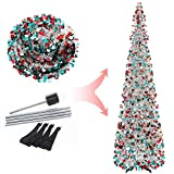 Joy-Leo 6 Feet Silver Multicolor Sequin Pop Up Tinsel Christmas Tree, Easy to Assemble and Store, for Small Spaces Apartment Fireplace Party Home Office Store Classroom Xmas Decorations