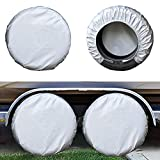 Kayme Rv Tire Covers Set of 4, Travel Trailer Camper Truck SUV Motorhome Waterproof Wheel Cover, Sun Rain Snow Protector, Fit 27-29 Inch Tire Diameter/Silver
