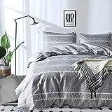 Grey Comforter Set Queen, Soft Microfiber Reversible Boho Striped Down Alternative Comforter Set for All Season - 3 Pieces (1 Solid Comforter + 2 Pillowcases), Bedding Filling Duvet Set 90'x 90'