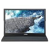 JOHNWILL 15,6 Zoll Typ-C-Touchscreen, tragbarer Monitor, Ultra HD 1920 x 1080 IPS-LCD/LED-Anzeige, HDMI/Zwei Typ C (USB C) Zwei USB-Schnittstellen,Spielmonitor, Gehäuse aus schwarzem Metall