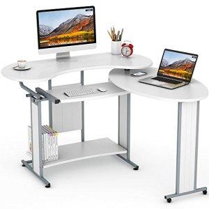 L-Shaped Computer Desk, LITTLE TREE Rotating Corner Desk & Modern Office Study Workstation, for Home Office or Living Room (White)
