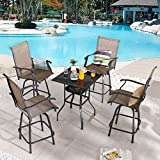 PatioFestival 5 Pieces Patio Swivel Bar Stools Set Textilene Bar Height Patio Bistro Set Dining Chair Furniture Set Tempered Glass Table with Storage(Brown)