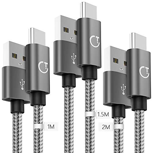 Gritin Cavo USB C [3 Pezzi: 1m, 1.5m, 2m] Nylon Intrecciato Cavo USB Tipo C per Samsung Galaxy S9/S8+, Note 8, Nintendo Switch, Sony Xperia XZ, HTC 10/U11, OnePlus 5T, Huawei P9 e pi (Grigio)