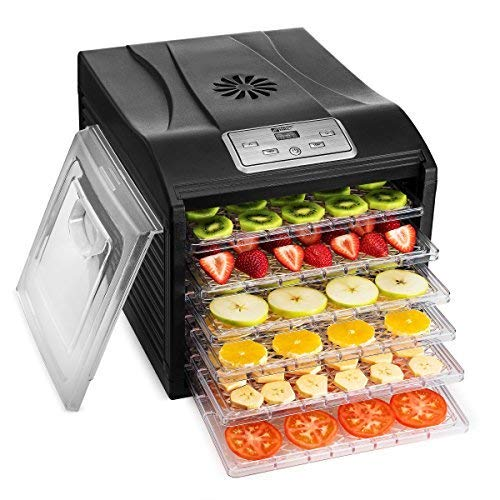Magic Mill Food Dehydrator Machine - Easy Setup, Digital Adjustable Timer and Temperature Control   Dryer for Jerky, Herb, Meat, Beef, Fruit and To Dry Vegetables   Over Heat Protection   6 tray