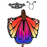 Butterfly Wings Shawl Halloween Costume Ladies Cape Lace Mask Antenna Headband