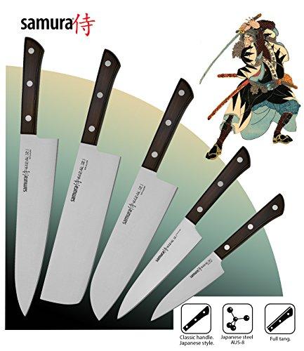 Set di 5 coltelli premium Samura HARAKIRI realizzati con lo straordinario acciaio inossidabile Giapponese con lame affiliate e extra dure!