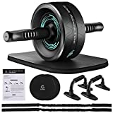 Gonex Ab Roller for Abs Workout, Ab Roller Wheel for Core Workout, Ab Roller with Resistance Bands, Knee Mat, Core Sliders, Push-Up Bar for Home Gym, Ab Workout Equipment for Abdominal Exercise