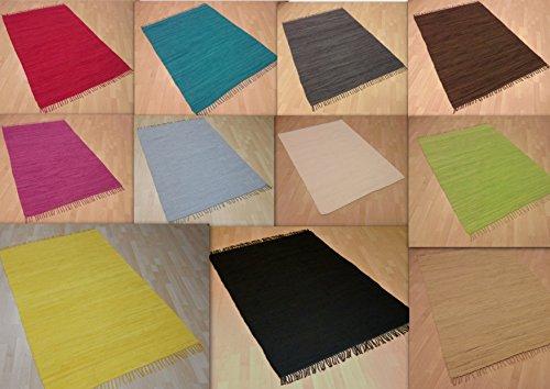 Tappeto patchwork tessuto a mano in tinta unita, 100% cotone, lavabile, cioccolato, ca. 60x110 cm