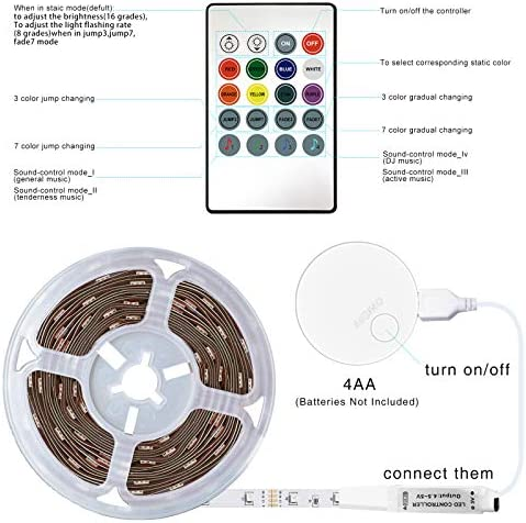 LED Strip Lights Battery Powered13.12ft,Tenmiro Led Lights USB Powered for TV,RGB 5050 Color Changing Led Lights,with Remote Led Lights for Bedroom,Home Decoration,Party,Camping 18
