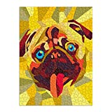 Picture Wall Art - Pug Impression Geometric Happy Dog in Yellow 750 Piece Art Jigsaw Puzzle for Adults