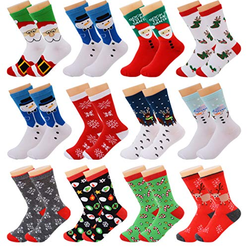 Fascigirl 12 paia di calzini natalizi Santa Deer Fiocco di neve Pupazzo di neve in cotone per le...