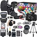 Canon EOS M50 Mark II Mirrorless Digital Camera with 15-45mm Lens Video Kit (Black) + Wide Angle Lens + 2X Telephoto Lens + Flash + SanDisk 32GB SD Memory Card + Accessory Bundle
