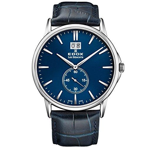Edox Les Bemonts Herren-Armbanduhr 40mm Armband Leder Blau Gehäuse Edelstahl Batterie Analog 64012 3 BUIN