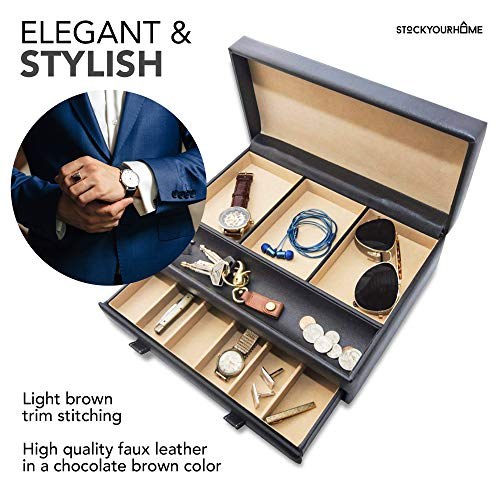 Product Image 6: Stock Your Home Watch Box with Valet Drawer for Dresser - Mens Jewelry Box with Multiple Compartments - Jewelry Case Display Organizer for Mens Jewelry Watches, Men's Storage Boxes Holder