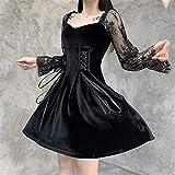 YUNCHENG Gothique Lolita Bandage Robe Noire Femmes Vintage Vintage Sexy Dentelle Robe Bouffante Robe esthétique élégante Tenue à Taille Haute (Size : Small)