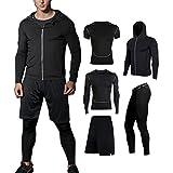 BUYJYA 5Pcs Men's Fitness Suit Workout Set Compression Top Pants Long Sleeve (Black, S)