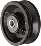 RWM Casters VIR-0415-08 4' Diameter X 1-1/2' Width Cast Iron V-Groove Wheel with Straight Roller Bearing, 700 lbs Capacity