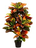 One 3 Foot Indoor Outdoor Artificial Croton Palm Tree Bush UV Rated Potted Plant