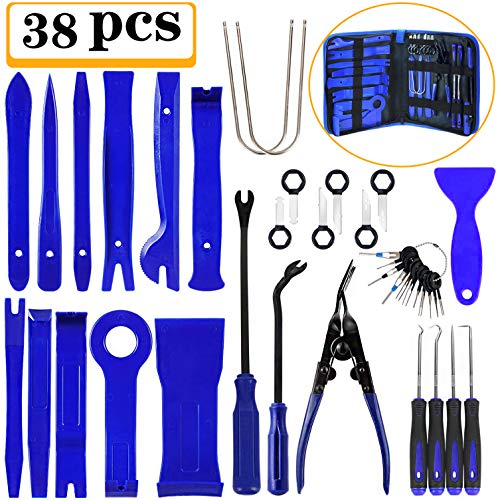 Manfiter 38Pcs Trim Removal Tool, Pry Kit Car Panel Tool Radio Removal Tool Kit, Auto Clip Pliers Fastener Remover Pry Tool Kit, Car Upholstery Repair Kit, Prying Tool Kit with Storage Bag