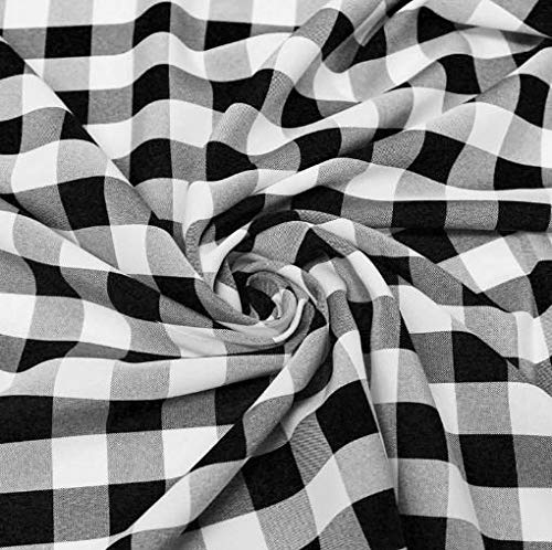 "60"" Wide Checkered Gingham Buffalo Check Polyester Poplin Fabric - Black & White - 1 Yard"