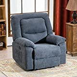 RELAXIXI Power Recliner Chair with Massage, Heat and USB Charge Port - Electric Recliner for Elderly - Soft Fabric Sofa for Home, Living Room