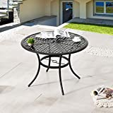 LOKATSE HOME 42.1' Outdoor Round Cast Wrought Iron Patio Metal Dining Table with Umbrella Hole, Steel Frame for Backyard Lawn Balcony Deck, Black