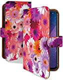らくらくスマートフォン F-42A ケース 手帳型 携帯ケース ガーベラ 花柄 パープル 花 フラワー……