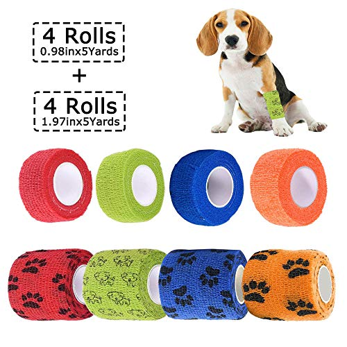 Kingrun Bendaggio Coesivo Autoadesivo, Fasciatura Benda Elastica Coesiva per Cani Animali, Garza Bende Veterinario adesive, in 4 Colori, 2,5 cm x 4,5 m (4 Rotoli), 5 cm x 4,5 m (4 Rotoli)