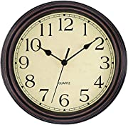 Non Ticking Mechanism: Precise quartz sweep movement guarantees accurate time and absolutely silent environment. Vintage Style: Perfect decorative wall clock for dining rooms, living rooms, family rooms, bedrooms, study room, kitchen, office, or conf...
